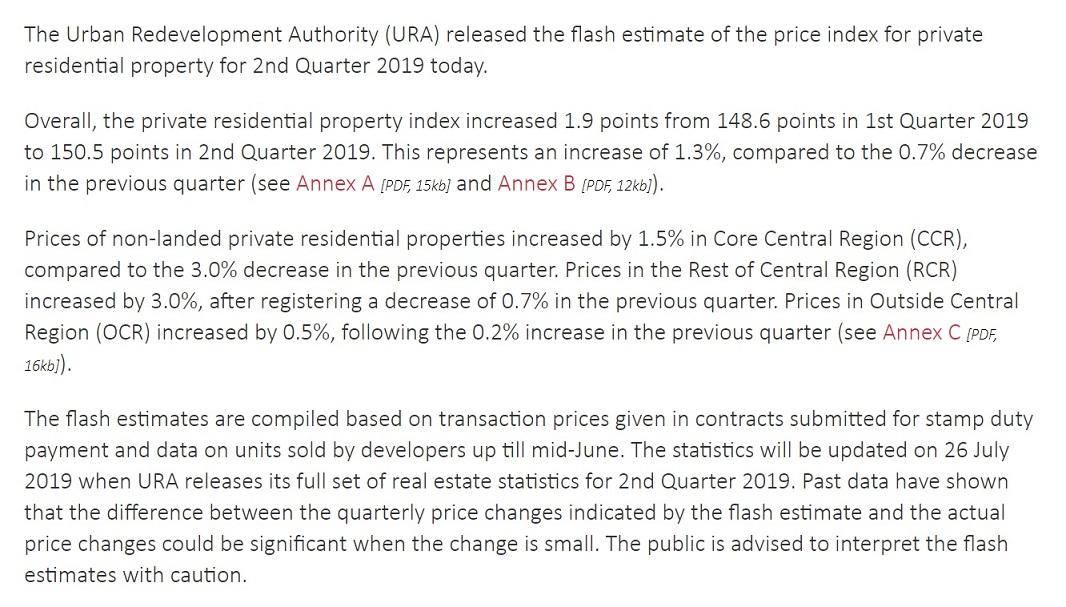 URA releases flash estimate of 2nd Quarter 2019 private